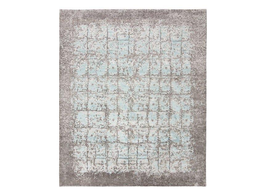 Handmade custom rug KASMIR BLAZE STEEL GREY BLUE by Thibault Van Renne