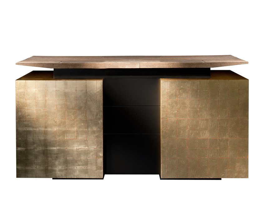 Lacquered gold leaf sideboard with doors KATAI 2 by Garbarino
