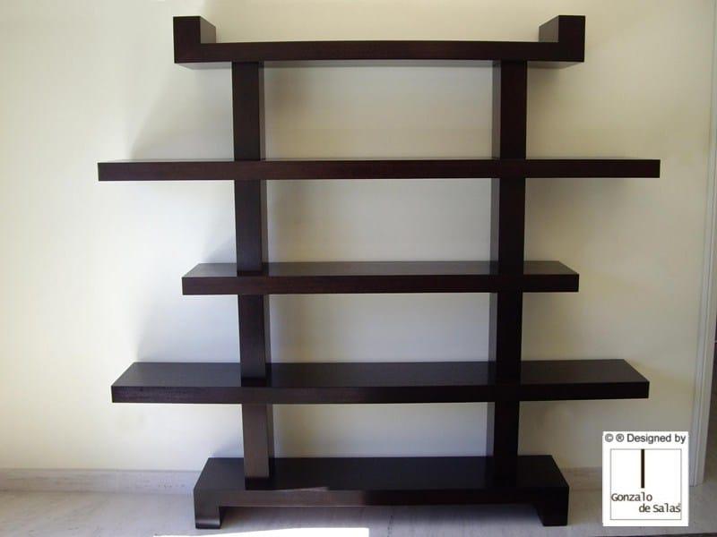 Wall-mounted wooden bookcase KATAKANA by Gonzalo De Salas