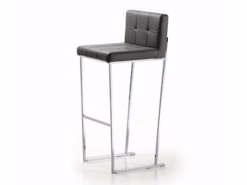 Upholstered sled base leather stool with back KATE by Cattelan Italia
