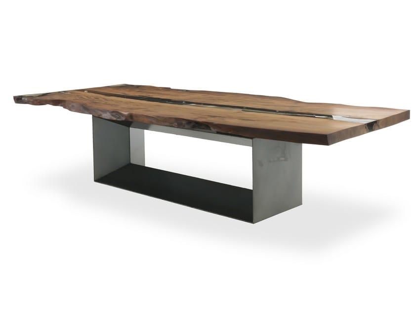 Rectangular Kauri wood table KAURI CUBE by Riva 1920