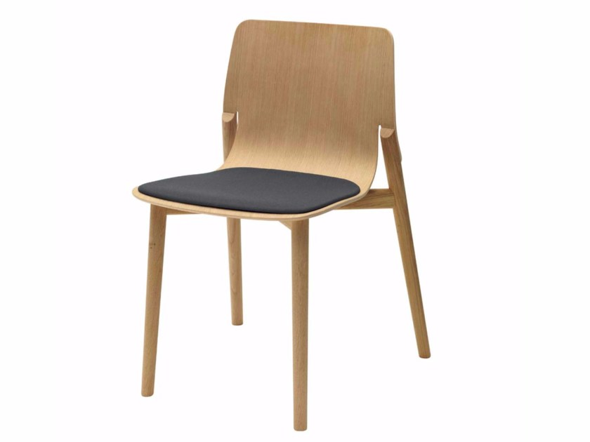 Upholstered stackable wooden chair KAYAK SOFT - 049 by Alias