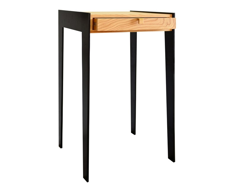 Oak High Side Table With Storage Space Kayla By Emnastudio