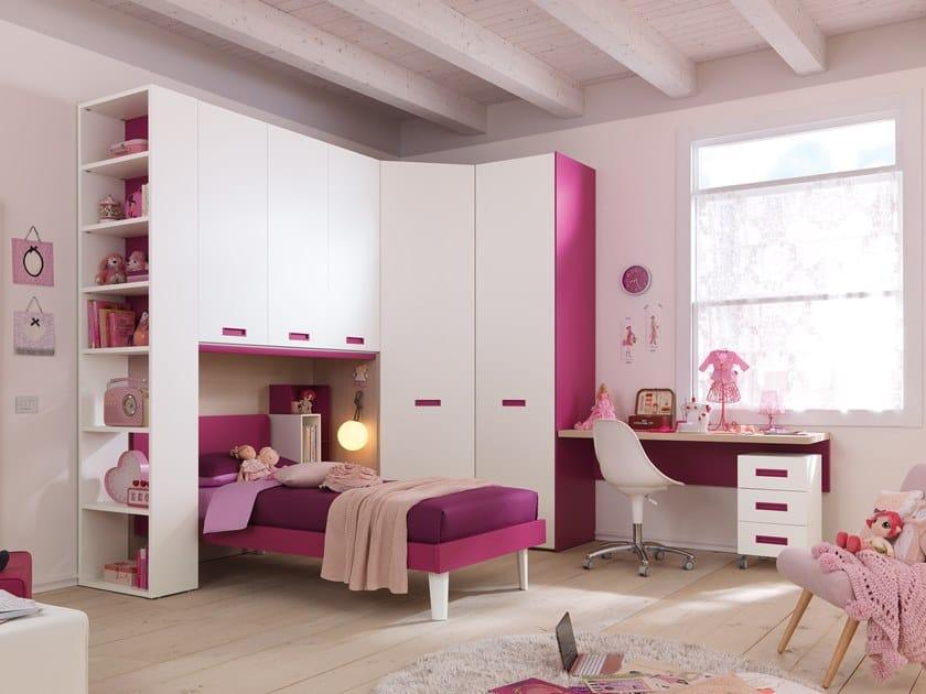 Wooden bedroom set with bridge wardrobe KC411 | Bedroom set with bridge wardrobe by Moretti Compact