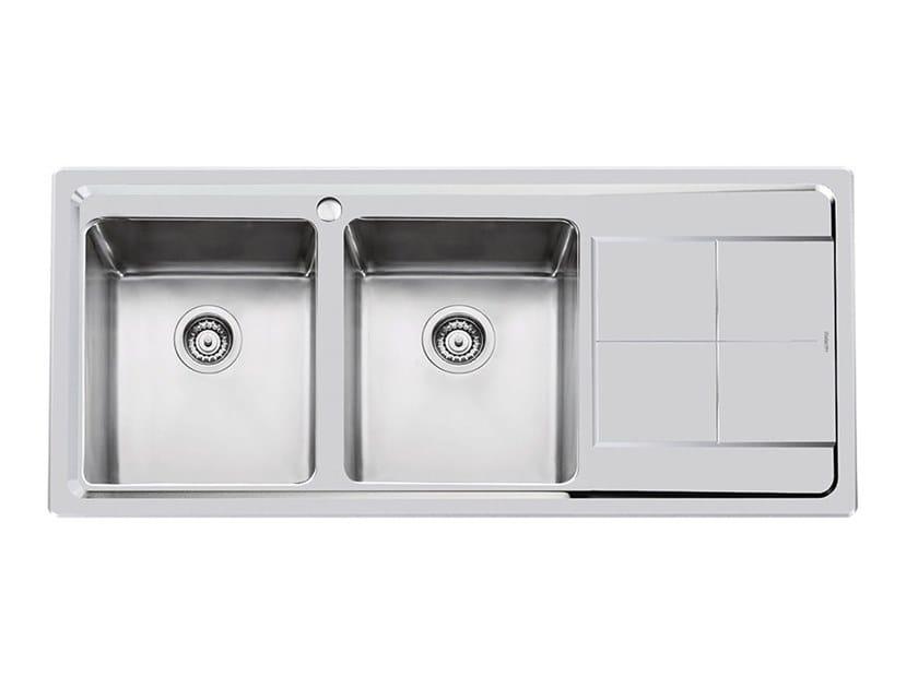 Lavello a 2 vasche in acciaio inox con gocciolatoio KE ...