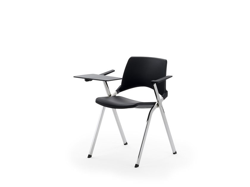 Stackable folding chair with armrests KENDÒ PLASTIC | Training chair with writing tablet by Diemmebi