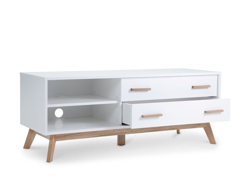 Melamine-faced chipboard TV cabinet with drawers with cable management KENSAL NORDIC | TV cabinet by Woodman