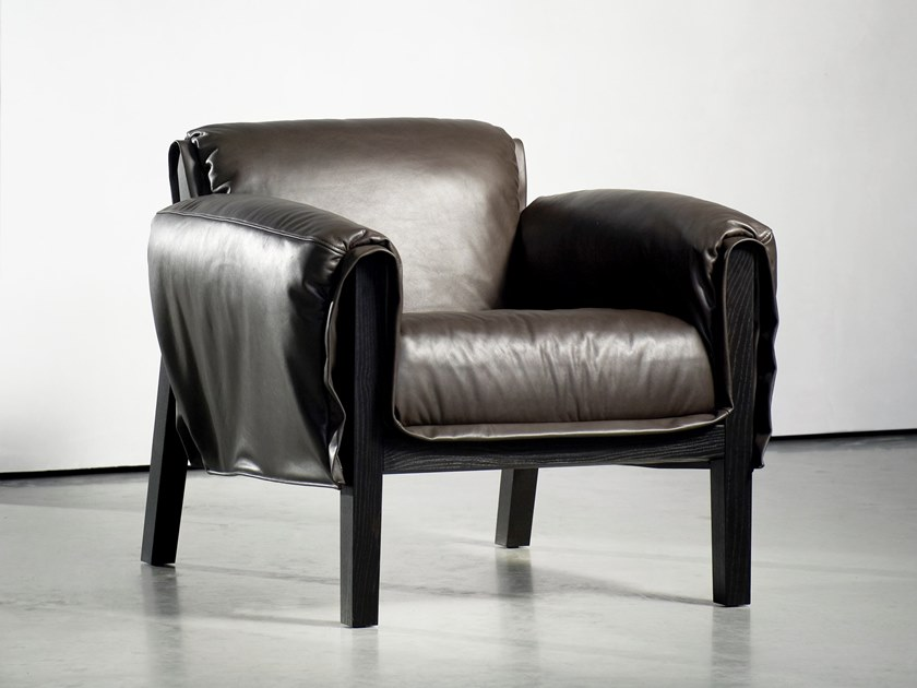 Upholstered armchair with armrests KENT by Piet Boon