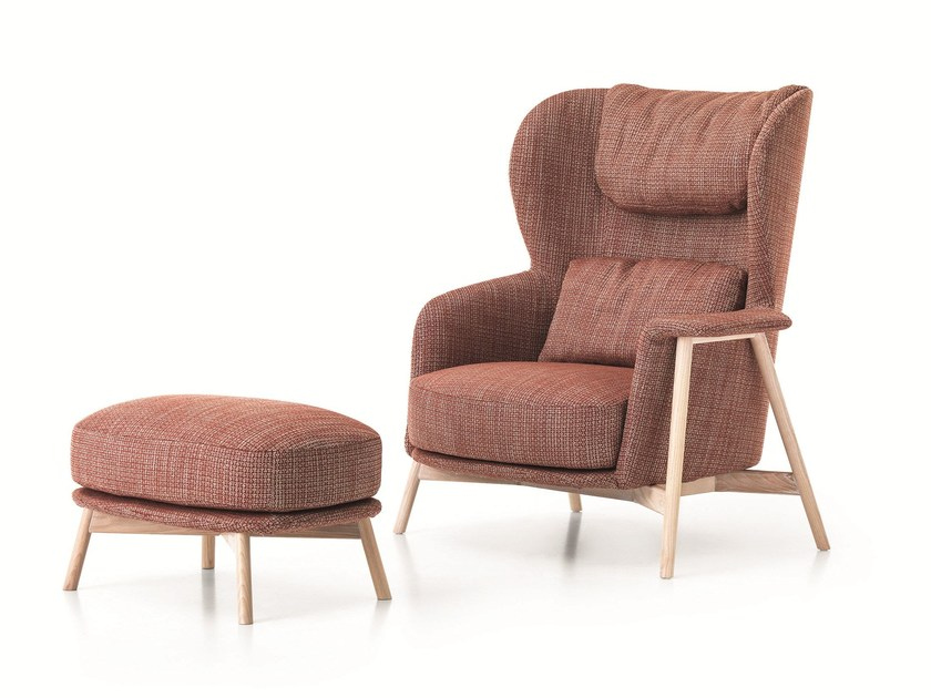 Bergere armchair with removable cover KEPI | Bergere armchair by Saba Italia