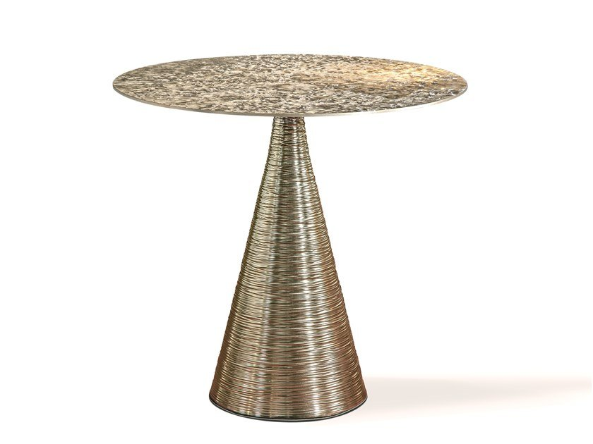 Frosted brass high side table KEVIN by Cornelio Cappellini