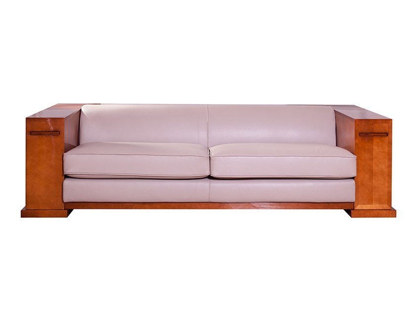 Contemporary style leather sofa with integrated magazine rack KEY LARGO | Sofa by HUGUES CHEVALIER
