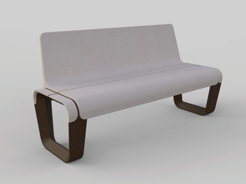 Reconstructed stone Bench with back KEY   Bench with back by Manufatti Viscio