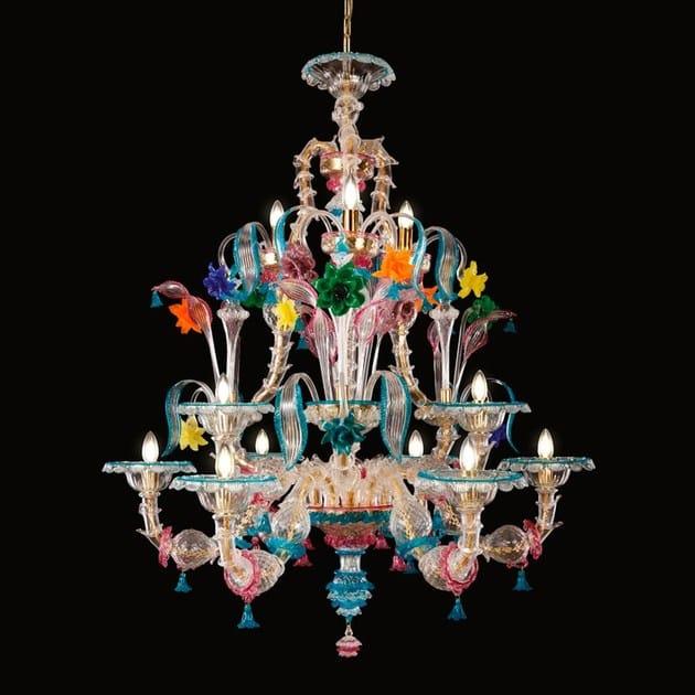 Blown glass chandelier KIA ORA   Murano glass chandelier by MULTIFORME