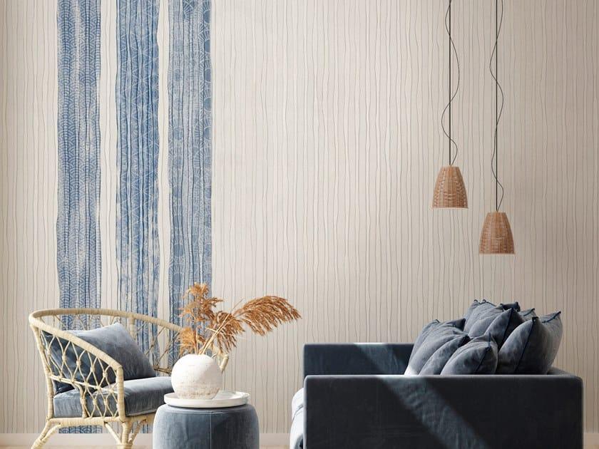 Contemporary style striped fabric wallpaper KIMONO by Tecnografica