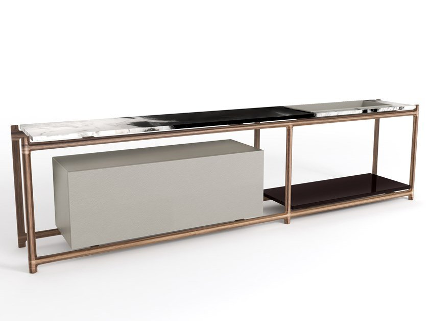 Rectangular marble console table with shelving KING'S CROSS | Console table by Visionnaire