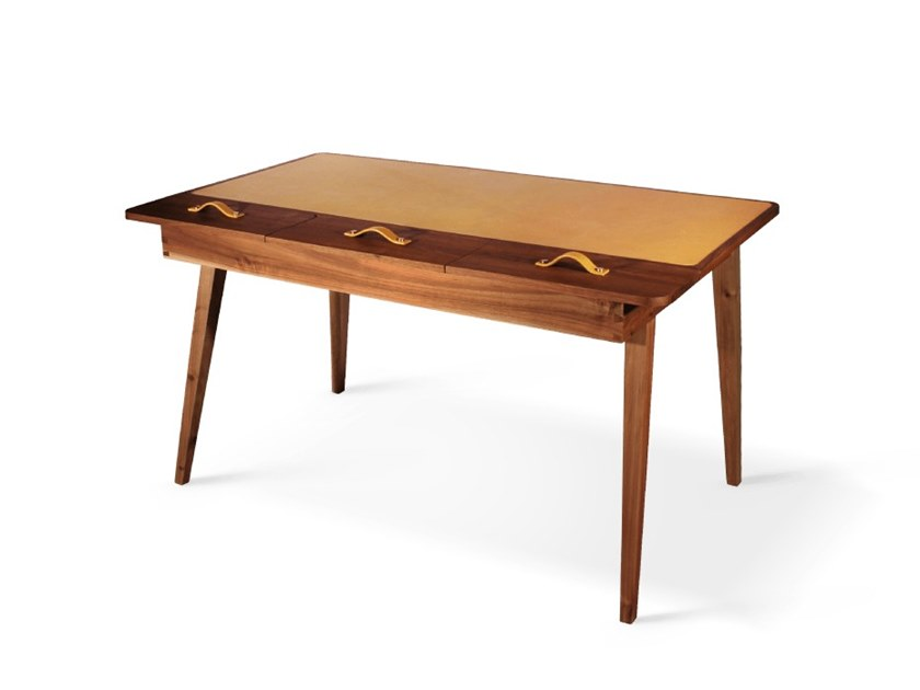 Rectangular walnut writing desk with drawers KIPLING by Wood Tailors Club