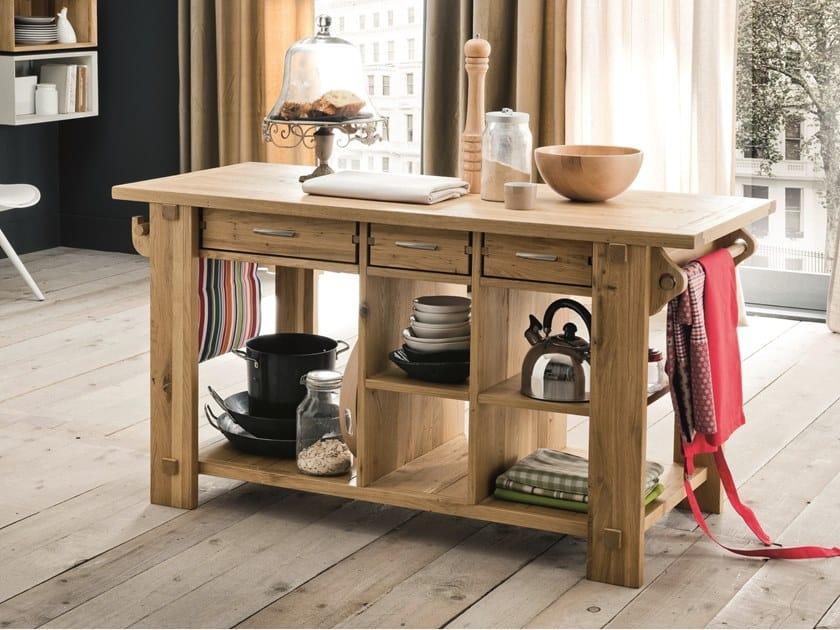 Küchenelement aus Holz mit Griffe ISOLA DA CUCINA By AltaCorte