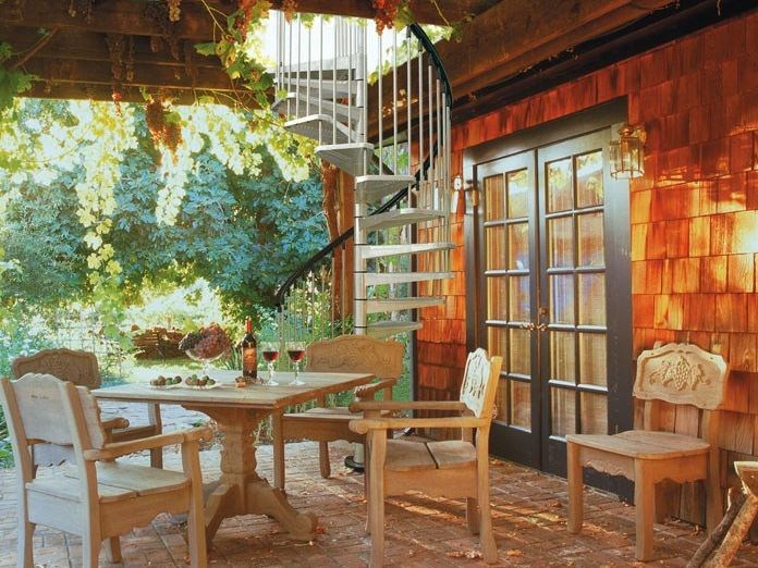 Outdoor steel Spiral staircase KLIO ZINK by Fontanot