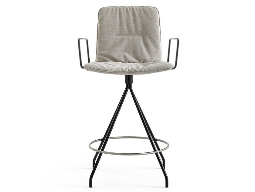 Fabric stool with footrest KLIP | Stool with footrest by Viccarbe