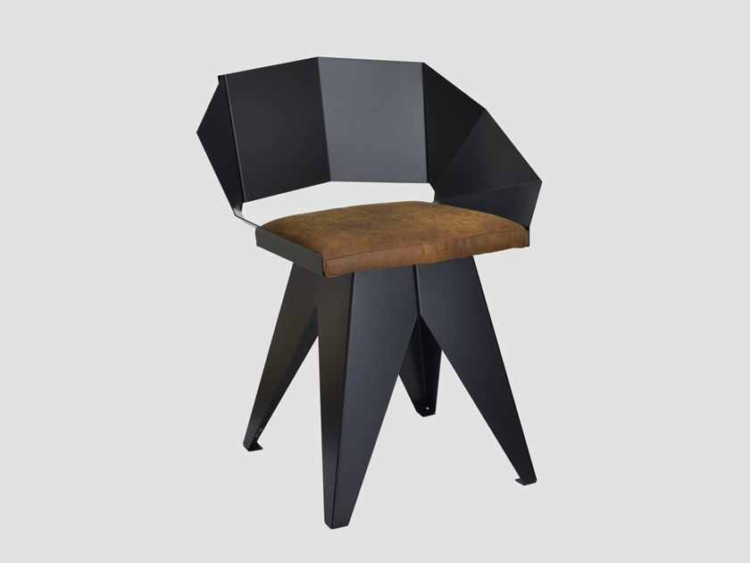 Steel chair with integrated cushion KNIGHT STEEL by Gie El Home