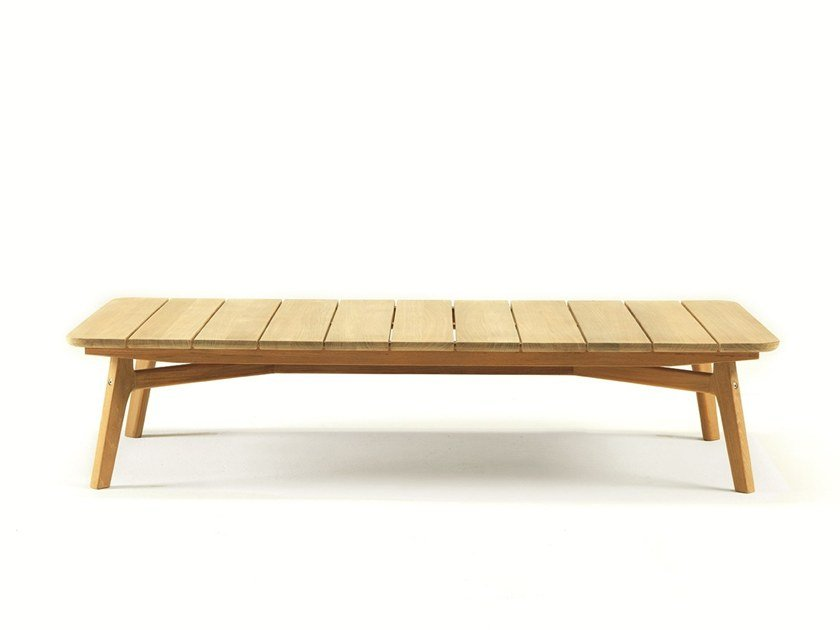 Rectangular teak garden side table KNIT | Rectangular coffee table by Ethimo