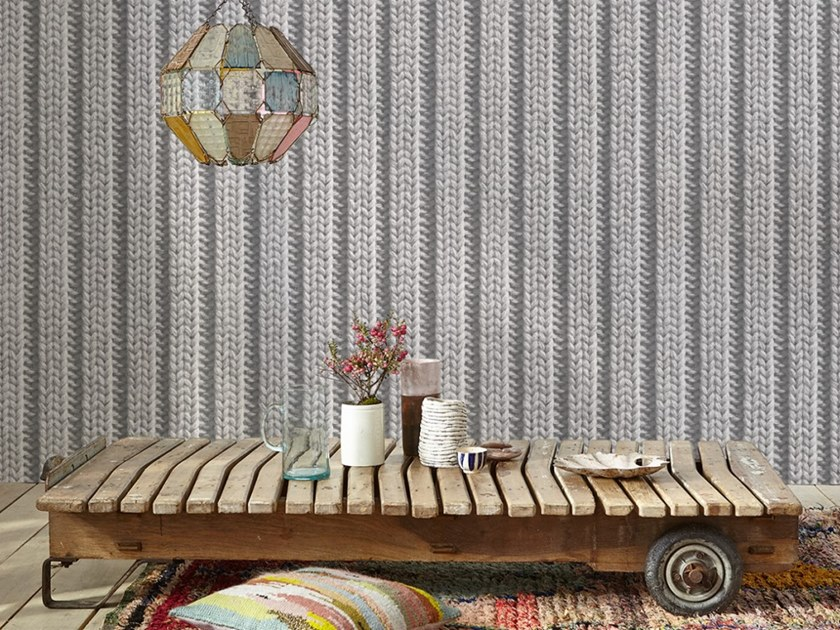 Wallpaper with textile effect KNITTING by Koziel