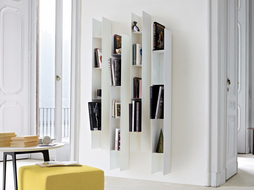 Lacquered modular floating metal bookcase KOALA by Lema