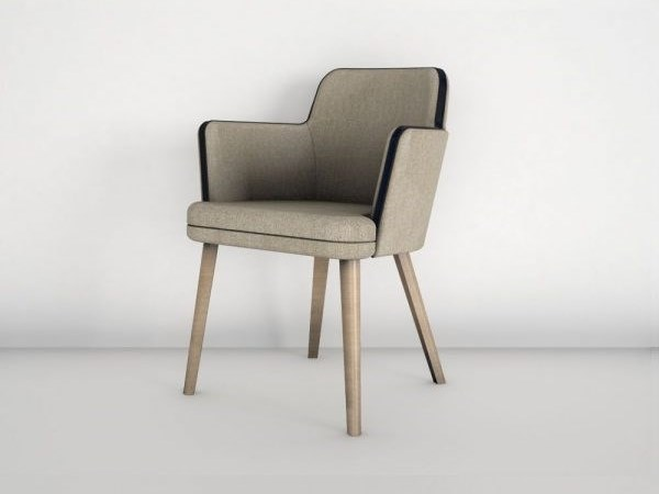 Upholstered chair with armrests KOBE by Emotional Projects