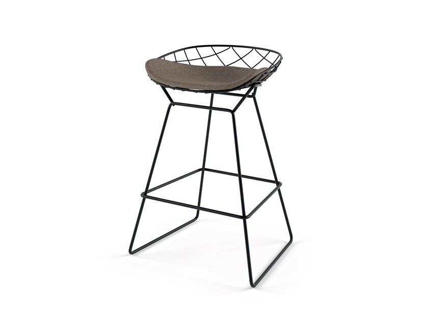 Sled base powder coated steel stool KOBI MEDIUM STOOL - N02 by Alias