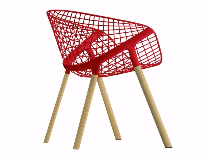 Steel and wood chair with armrests KOBI WOOD - 041 by Alias