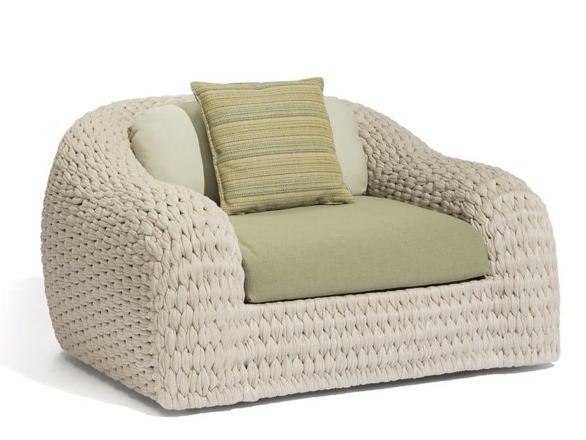 Rope garden armchair with armrests KOBO | Garden armchair by MANUTTI