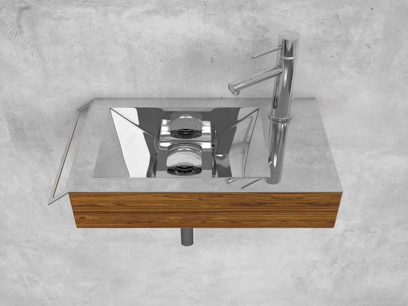 Wall-mounted stainless steel and wood handrinse basin KOKS by Componendo