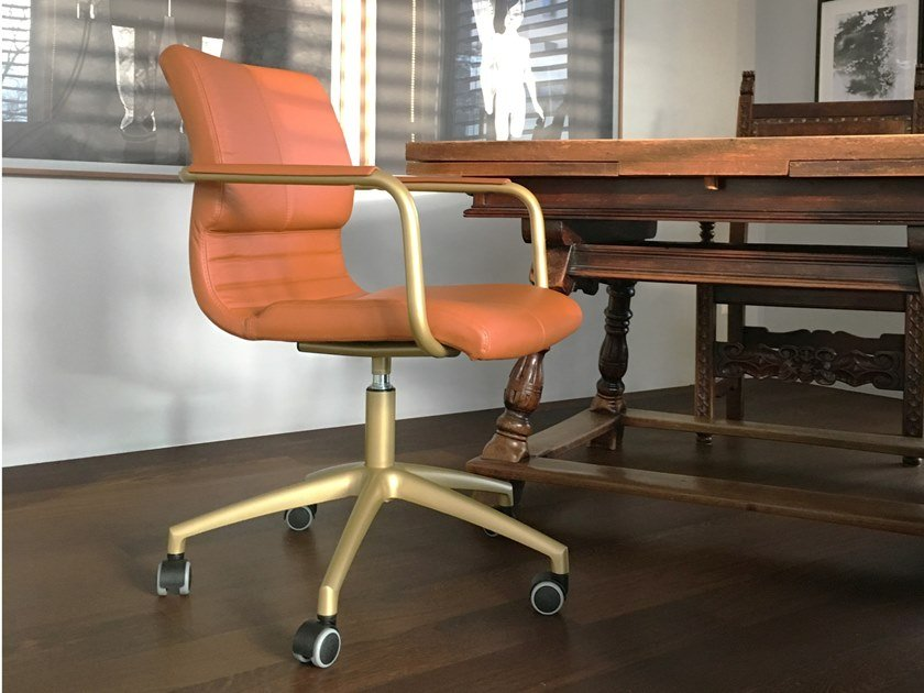 Swivel leather office chair with armrests KOLB   Office chair by ZALABA Design