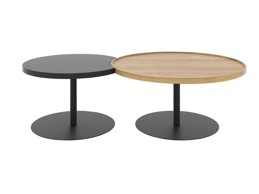 Round steel and wood coffee table KOMBI by take me HOME