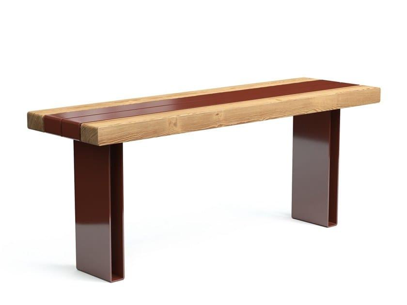 Tavolo per spazi pubblici rettangolare in acciaio e legno KONG | Tavolo per spazi pubblici by VESTRE