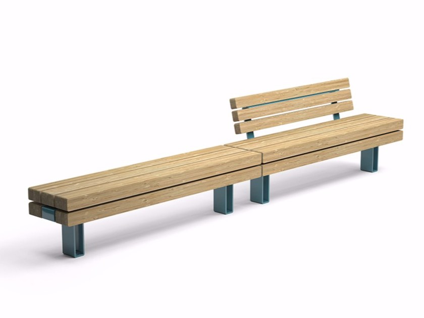 Sectional Modular steel and wood Bench KONG by VESTRE