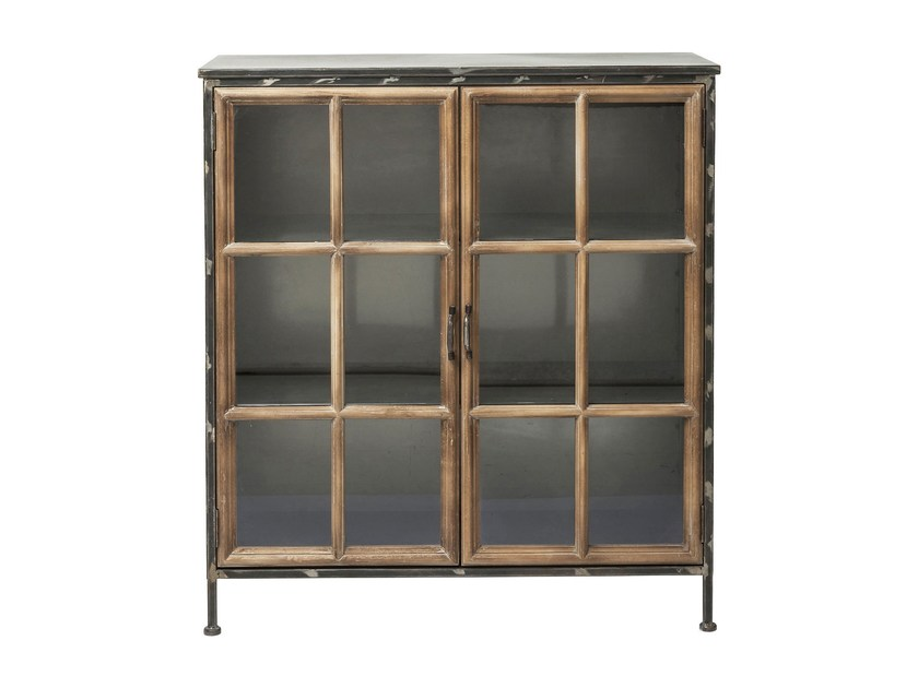 Wood and glass highboard with doors KONTOR | Wood and glass highboard by KARE-DESIGN