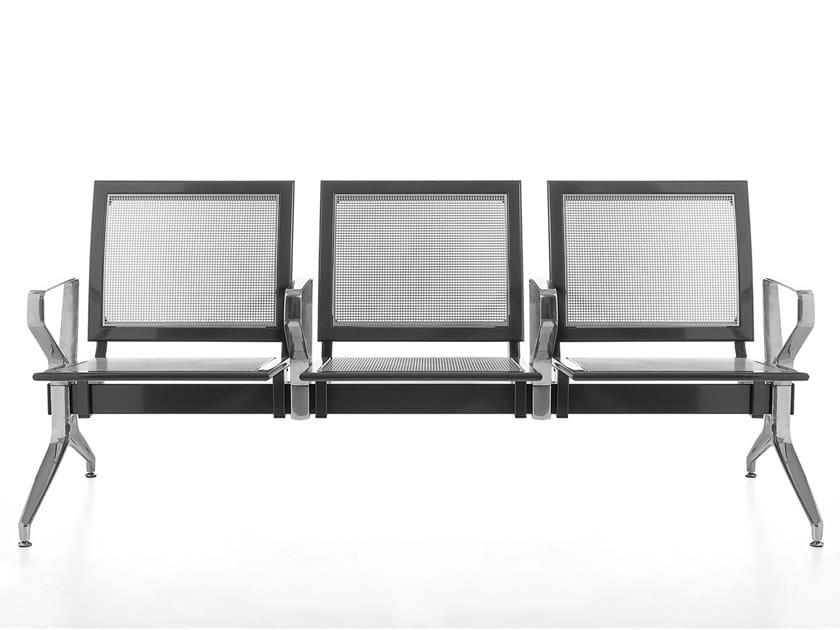 Metal beam seating with armrests KORNER by Kastel