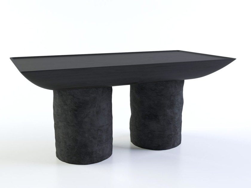 Ceramic and solid wood coffee table KOROTUN by FAINA Collection