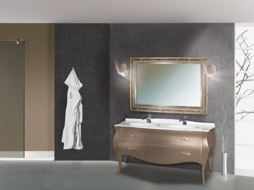 Double vanity unit with drawers with mirror KOS CM05DC by LA BUSSOLA
