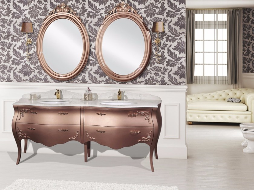 Double vanity unit with drawers with mirror KOS CM32DC by LA BUSSOLA