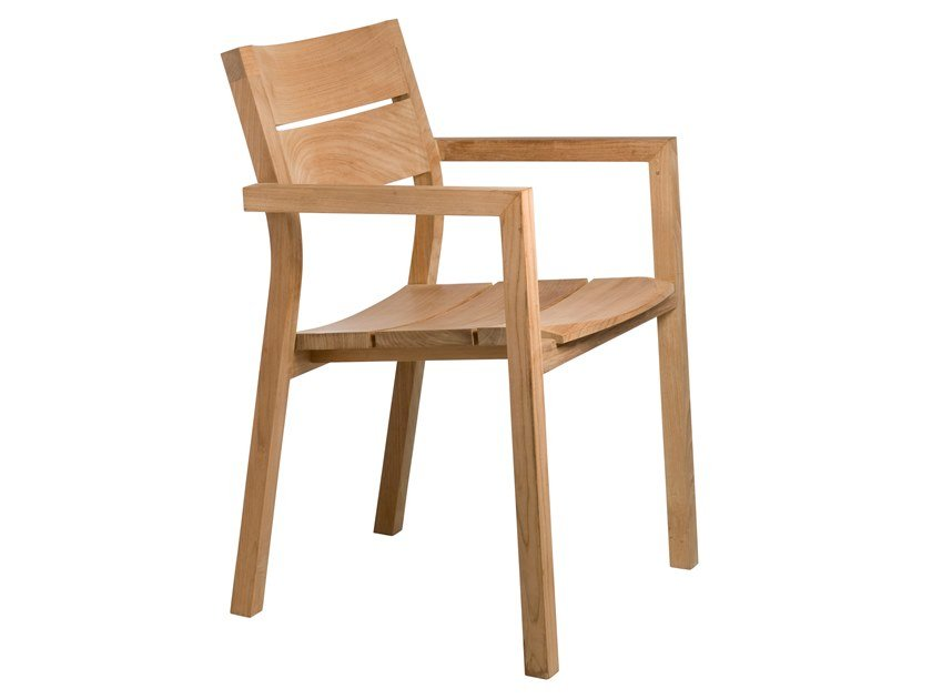 Teak garden chair with armrests KOS | Chair with armrests by TRIBÙ