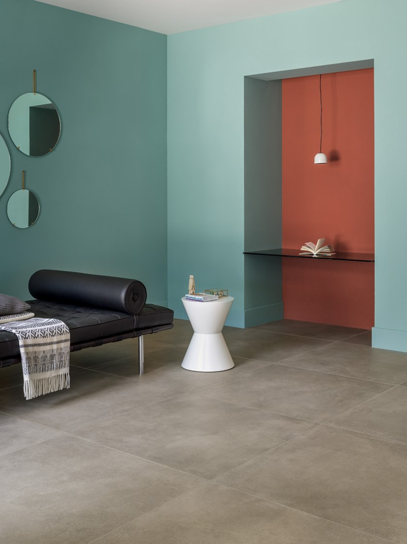 Full-body porcelain stoneware wall/floor tiles with concrete effect ...
