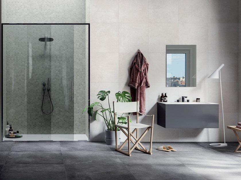 Full-body porcelain stoneware wall/floor tiles with concrete effect KOS by Terratinta Ceramiche