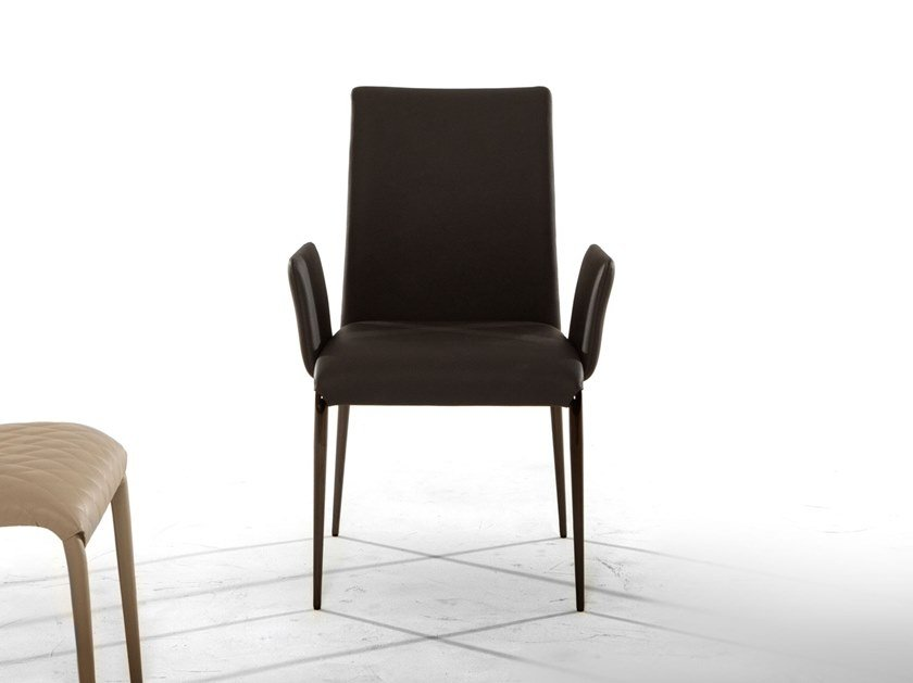 Upholstered leather chair with armrests KOSMOS | Chair with armrests by Tonin Casa