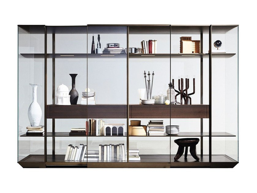 Glass and aluminium display cabinet / wardrobe KRISTAL by Molteni&C