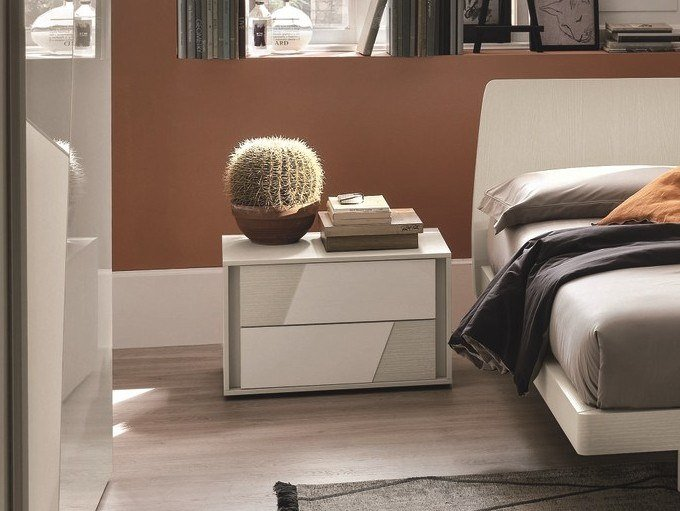 Lacquered bedside table with drawers KROSS | Lacquered bedside table by Gruppo Tomasella
