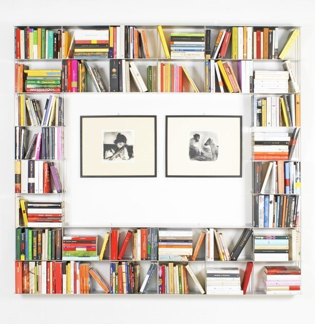 Wall-mounted sectional aluminium bookcase KROSSING by KRIPTONITE