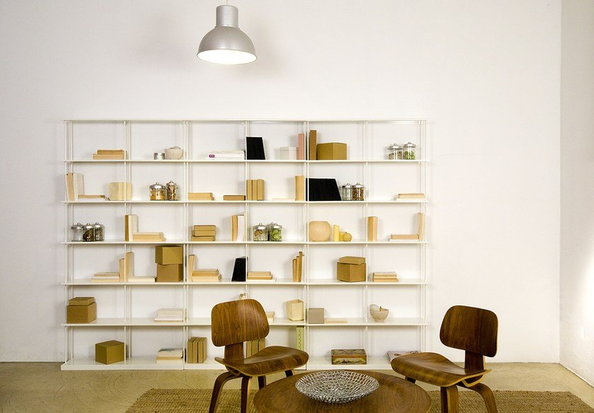 Wall-mounted modular aluminium shelving unit KROSSING MAXI by KRIPTONITE