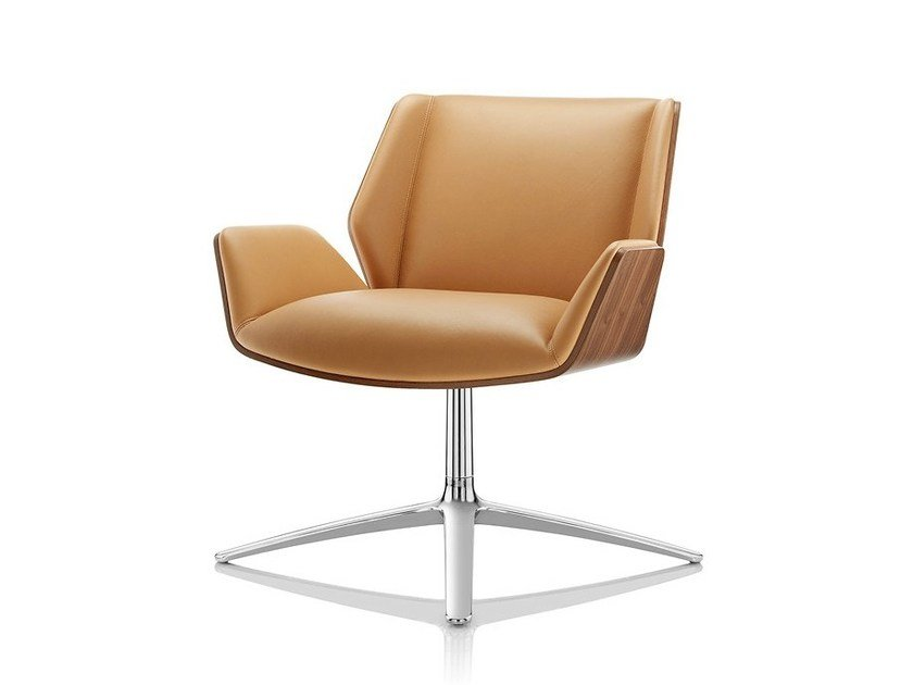 Swivel easy chair with 4-spoke base with armrests KRUZE LOUNGE by Boss Design